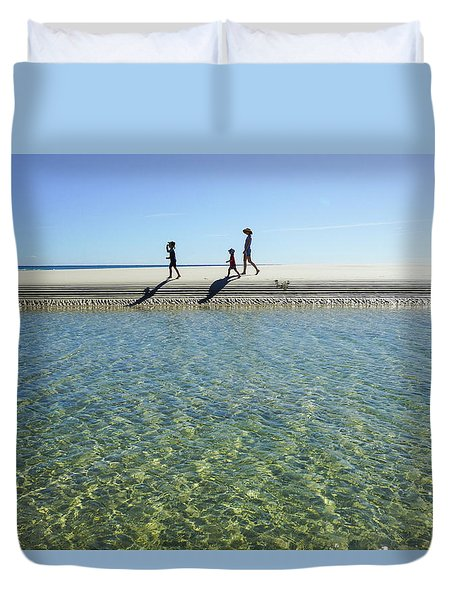 Exploring A Tidal Beach Lagoon Duvet Cover
