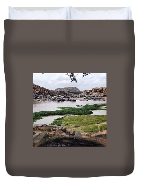 Hiking In Hampi Duvet Cover