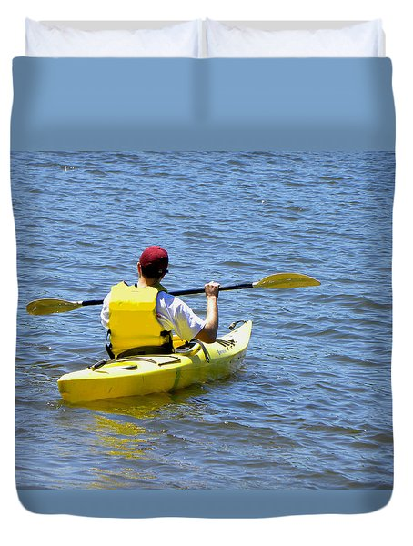Duvet Cover featuring the photograph Exploring In A Kayak by Sandi OReilly