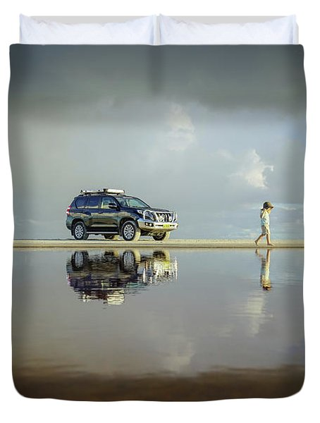 Exploring The Beach On A Rainy Day Duvet Cover