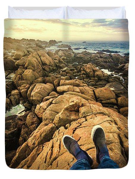 Exploring The Beaches Of Western Tasmania Duvet Cover