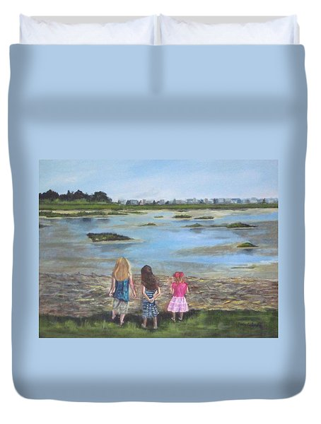 Exploring The Marshes Duvet Cover