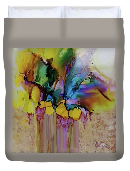 Duvet Cover featuring the painting Explosion Of Petals by Joanne Smoley
