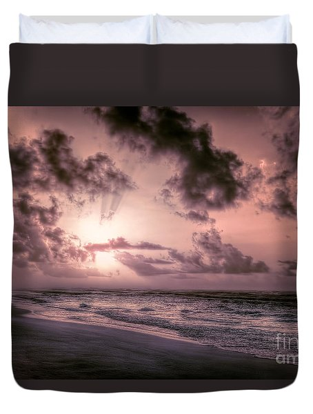 Explosive Sunrise On Ocracoke Outer Banks Duvet Cover by Dan Carmichael