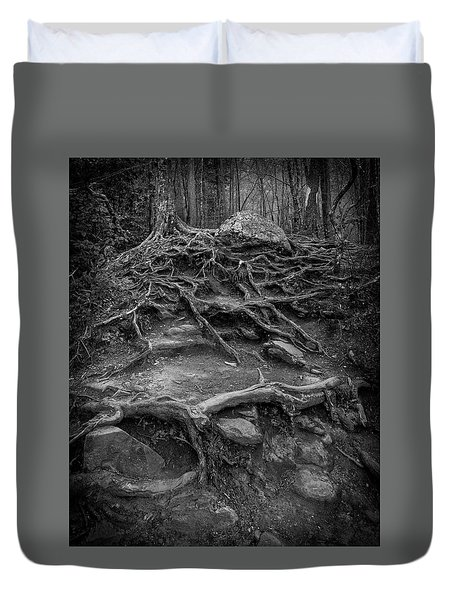 Duvet Cover featuring the photograph Exposed Roots by Alan Raasch