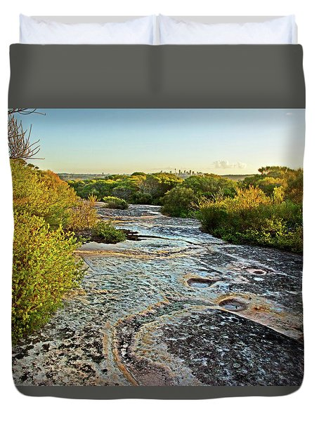 Duvet Cover featuring the photograph Exposed Sandstone In North Head by Miroslava Jurcik