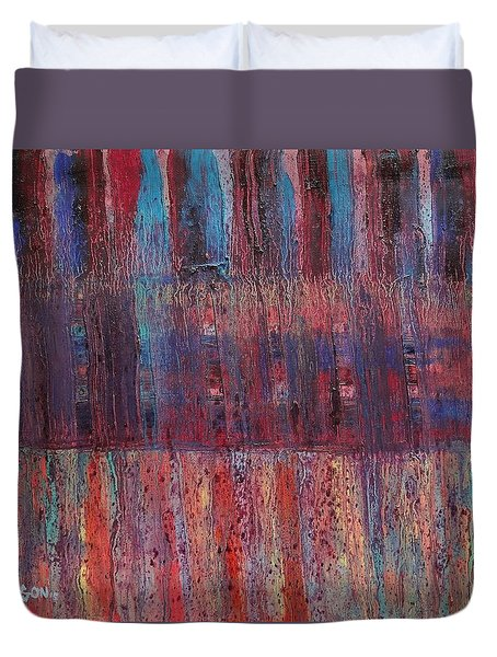 Duvet Cover featuring the painting Expression # 10 by Jason Williamson