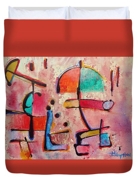 Duvet Cover featuring the painting Expression # 12 by Jason Williamson