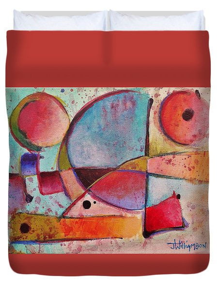 Duvet Cover featuring the painting Expression # 13 by Jason Williamson