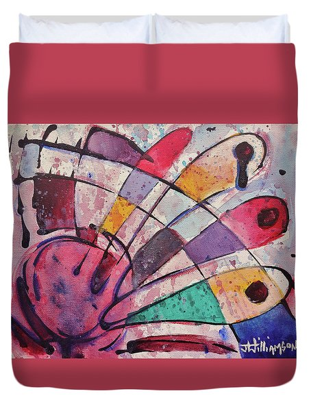Duvet Cover featuring the painting Expression # 14 by Jason Williamson