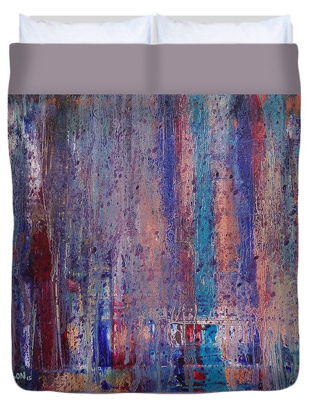 Duvet Cover featuring the painting Expression # 9 The Blues Down And Out by Jason Williamson