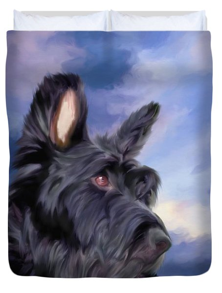 Expression Is Everything Scottish Terrier Dog Duvet Cover
