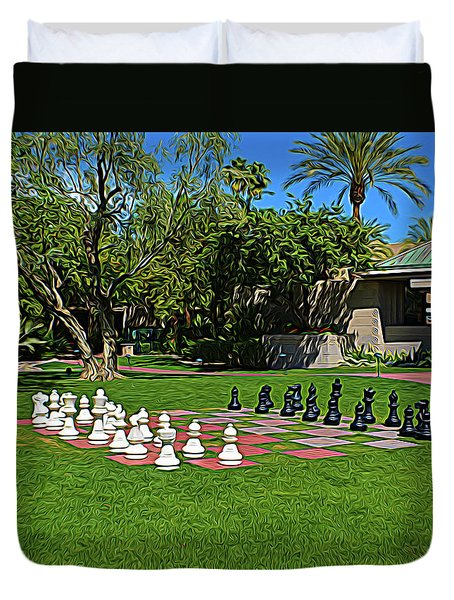 Duvet Cover featuring the photograph Expressionalism Chess At The Biltmore by Aimee L Maher Photography and Art Visit ALMGallerydotcom