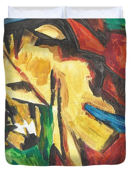 Duvet Cover featuring the painting Expressionism by Janelle Dey