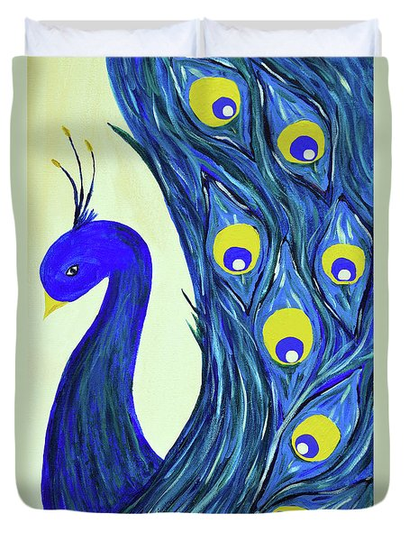 Duvet Cover featuring the painting Expressive Brilliant Peacock B71117 by Mas Art Studio