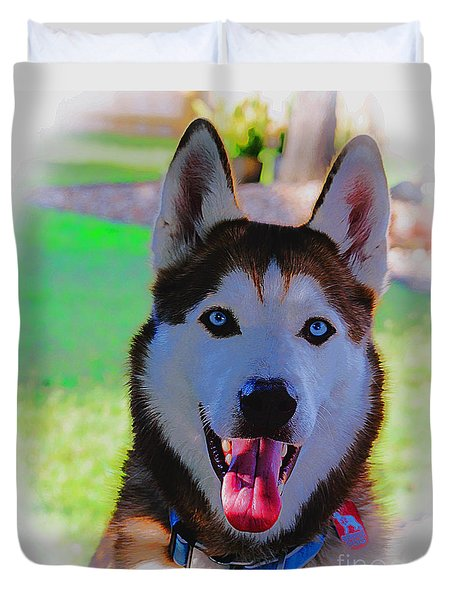 Duvet Cover featuring the digital art Expressive Siberian Husky  A62117d by Mas Art Studio