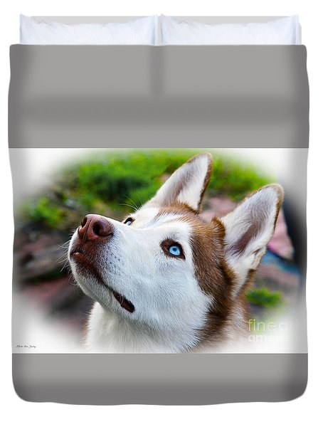 Duvet Cover featuring the digital art Expressive Siberian  Husky Photo C62017 by Mas Art Studio