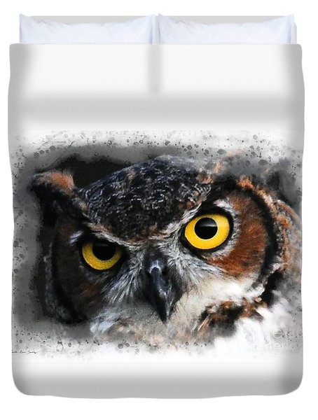 Duvet Cover featuring the digital art Expressive Owl Digital A2122216 by Mas Art Studio