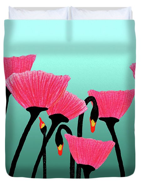 Expressive Red Pink Green Poppy Painting Y1a Duvet Cover