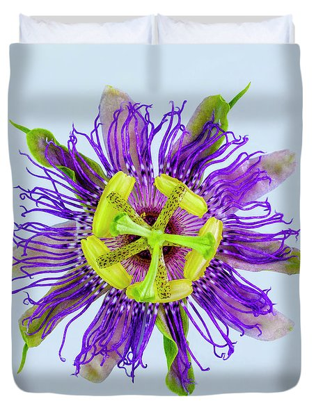 Expressive Yellow Green And Violet Passion Flower 50674b Duvet Cover