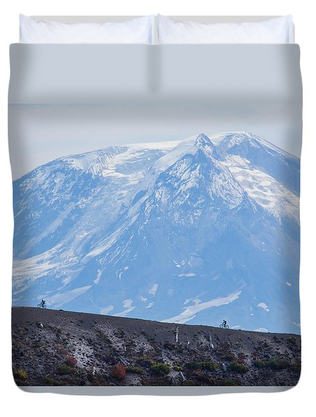 Duvet Cover featuring the photograph Extreme Mountain Biking by Angie Vogel