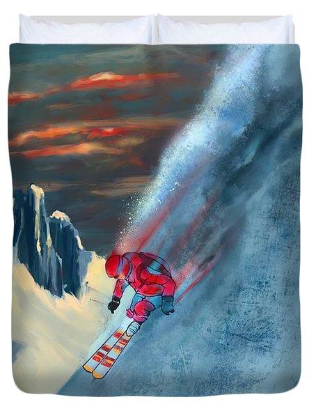 Extreme Ski Painting  Duvet Cover
