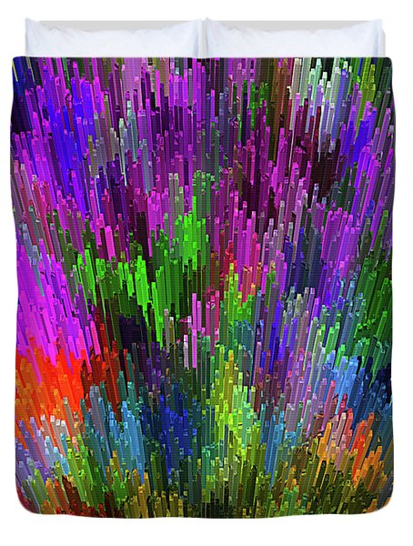 Duvet Cover featuring the digital art Extruded City Of Color By Kaye Menner by Kaye Menner