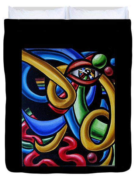 Eye Art Print Chromatic Abstract Art Painting Colorful Optical Artwork  Duvet Cover