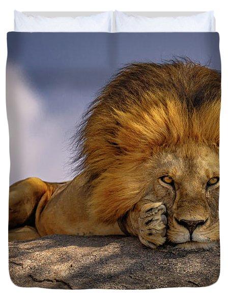Eye Contact On The Serengeti Duvet Cover