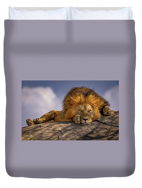 Eye Contact On The Serengeti Duvet Cover