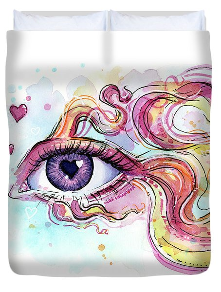 Eye Fish Surreal Betta Duvet Cover by Olga Shvartsur