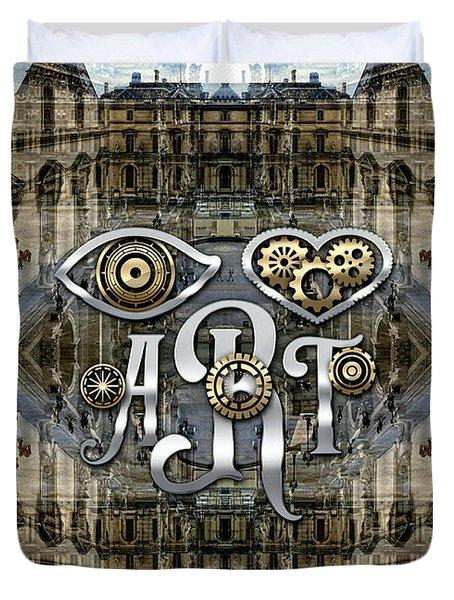 Eye Heart Art Louvre Silver Paris Da Vinci Gears Duvet Cover