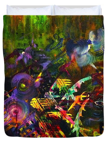 Duvet Cover featuring the painting Eye In Chaos by Claire Bull