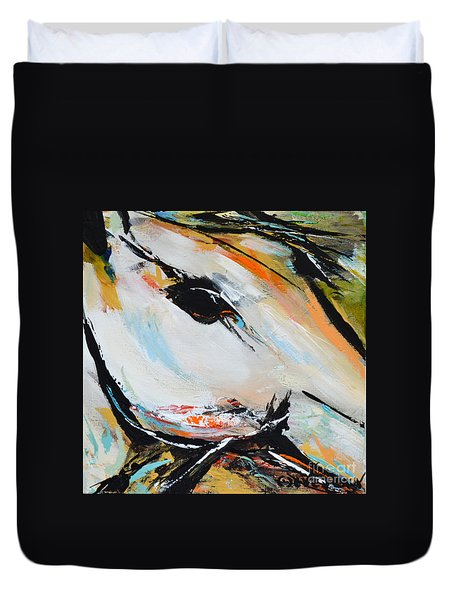 Duvet Cover featuring the painting Eye Of The Beholder by Cher Devereaux
