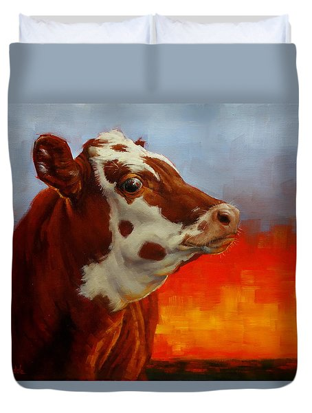 Duvet Cover featuring the painting Eye Of The Firestorm by Margaret Stockdale