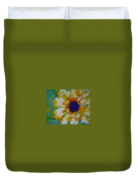 Eye Of The Flower Duvet Cover by Alison Caltrider