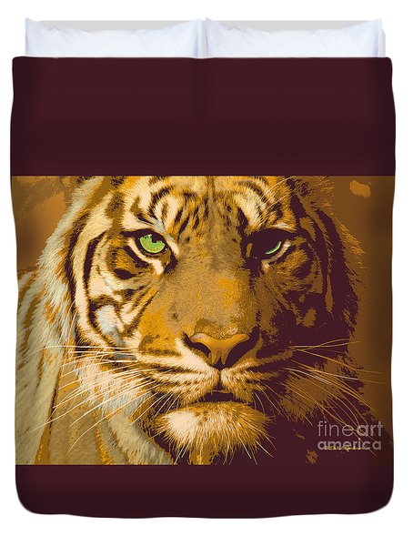 Eye Of The Tiger Animal Portrait  Duvet Cover