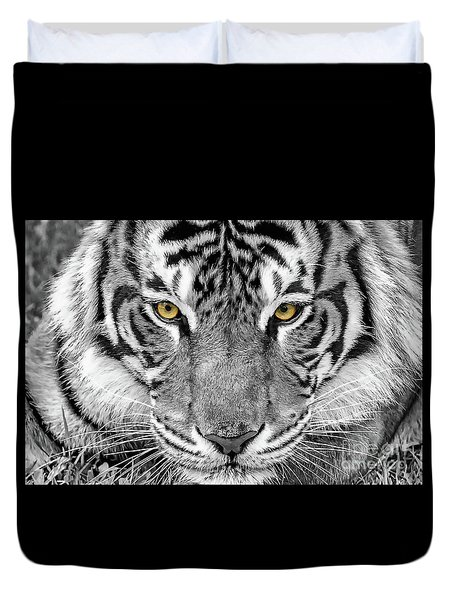 Duvet Cover featuring the digital art Eye Of The Tiger by Ray Shiu