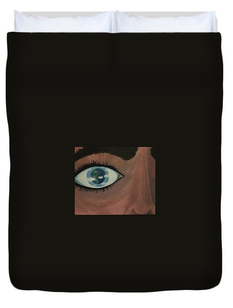 Duvet Cover featuring the painting Eye Of The World by Thomas Blood