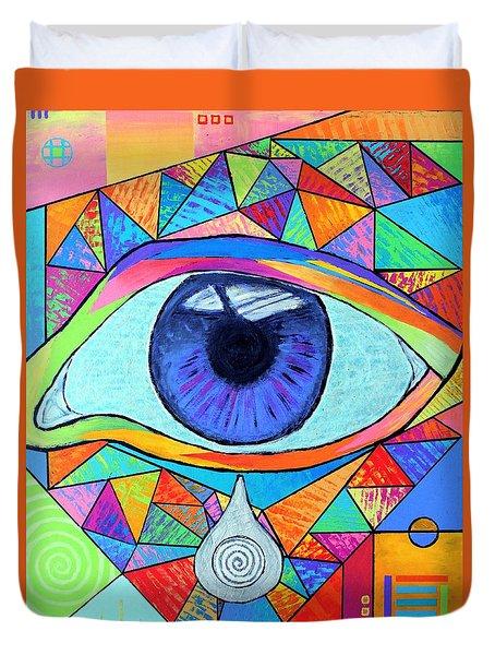 Eye With Silver Tear Duvet Cover
