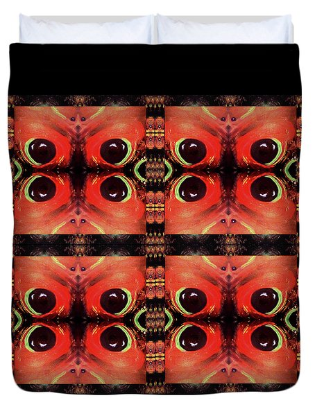 Duvet Cover featuring the painting Eyes 8 Four Square by Michelle Audas