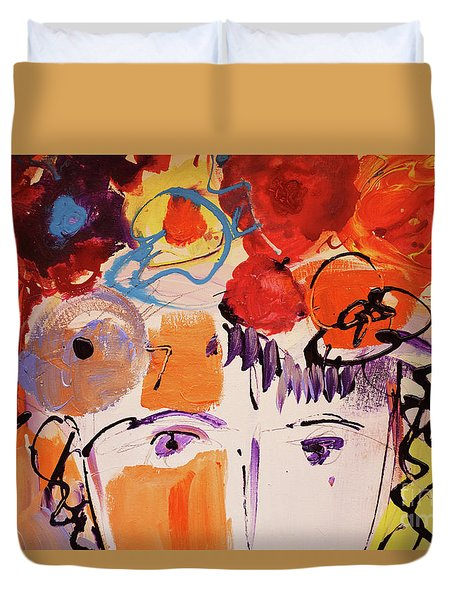 Eyes And Flowers Duvet Cover by Amara Dacer
