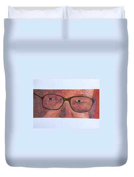 Duvet Cover featuring the painting Eyes by Donald J Ryker III
