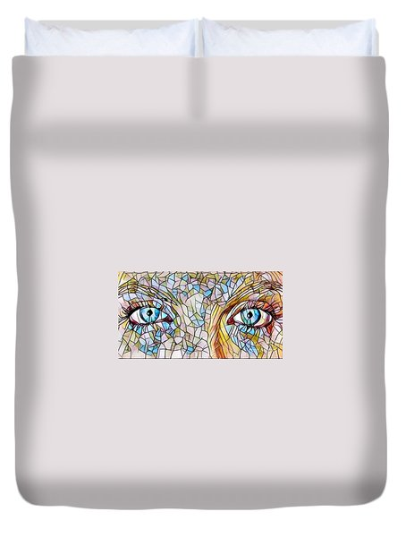 Eyes Of A Goddess - Stained Glass Duvet Cover