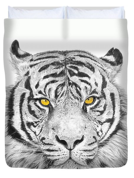 Eyes Of The Tiger Duvet Cover by Shawn Stallings