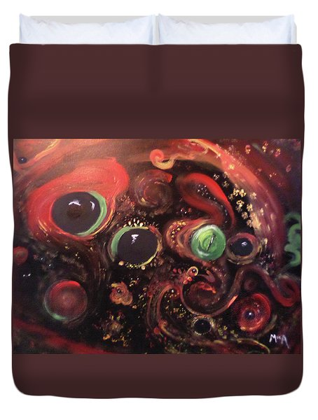 Duvet Cover featuring the painting Eyes Of The Universe # 5 by Michelle Audas