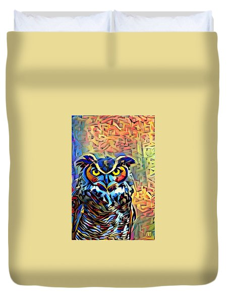 Duvet Cover featuring the photograph Eyes Of Wisdom by Geri Glavis