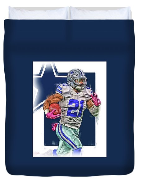 Ezekiel Elliotte Dallas Cowboys Oil Art Duvet Cover