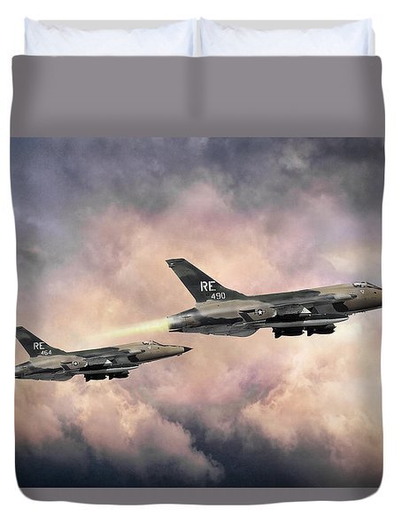 Duvet Cover featuring the digital art F-105 Thunderchief by Peter Chilelli