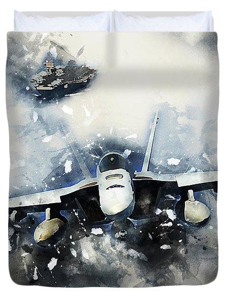 F-18 Super Hornet Painting Duvet Cover